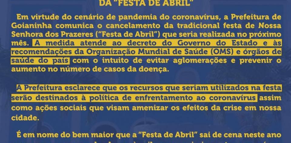 Prefeitura comunica cancelamento da festa da padroeira Nossa Senhora dos Prazeres